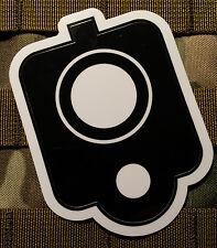 Outline 4x4 Inch Down the Barrel Pistol Muzzle Outline Vinyl Sticker Decal