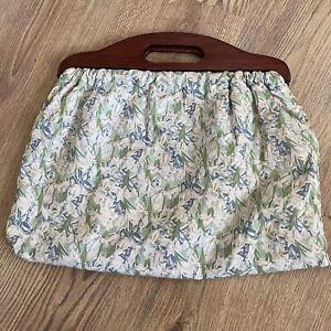 VINTAGE FLORAL IRIS DESIGN SEWING KNITTING CRAFT BAG GREEN BLUE WOODEN HANDLES