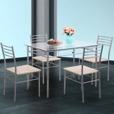 5 Piece Silver Dining Table Set Glass and 4 Chairs Kitchen Breakfast Furniture