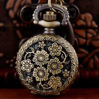 Vintage Quartz Flower Pocket Watch Chain Necklace Pendant Bronze Retro Antique