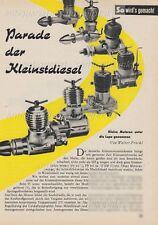 Kleinstdiesel Motoren / Modelldiesel für Flugmodelle - Original Bericht von 1956