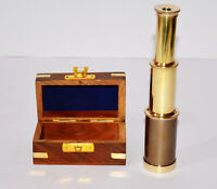 """Antique vintage brass maritime 6"""" telescope with wooden box home decor gift item"""