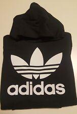 Felpa con cappuccio e tasche unisex bianca o nera scritta adidas logo trifoglio