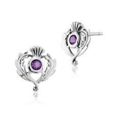 Orecchini di lusso con gemme bottoni viola in argento sterling