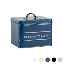 Vintage Metal Washing Tablets Storage Tin Utility Canisters 18cm Blue