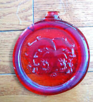 Betty Boop Red  Pressed Art Glass Suncatcher / Ornament  made in Ontario Canada