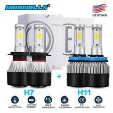 4x Combo H11 H7 LED Headlight Bulb Kit High Low Beam 396000LM 6000K Super Bright