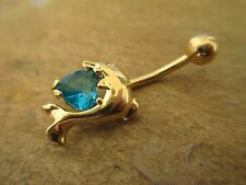 Aqua CZ Heart Dolphin Gold Titanium Plated Belly Button Navel Ring