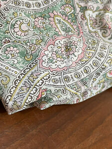Rare RALPH LAUREN Paisley KING FITTED Sheet, Lovely Green Rose - Green Tag