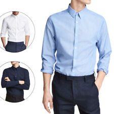Camisas hombre manga larga algodón slim fit azul/blanco