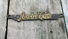 Small Bronze French Plaque A Notre Tante  Reclaimed Authentic Bronze Veritable