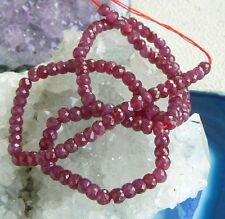 RARE GENUINE NATURAL UNTREATED FACETED RUBY BEADs RUBIES STRAND 82ct 4-4.2mm