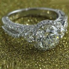Round Cut Diamond Wedding Engagement Ring 10K White Gold Plated 1.80 Ct Women