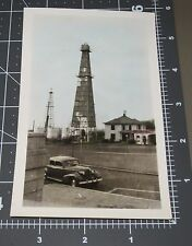OIL Well COLORIZED Refinery Old Car Building Beautiful Vintage Snapshot PHOTO