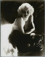 "GORGEOUS ""JEAN HARLOW"" on a BEAR SKIN RUG~8x10 SEPIA TONE STILL PORTRAIT PHOTO"