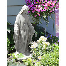 """Garden Sculpture Virgin Mary Statue Blessed Mother Lightweight Resin 34"""" Height"""