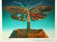 """Rudolf Hausner (1914-1995) signierte Farblithographie, """"Schmetterlingsbaum"""" 1979"""