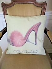 French  Pink Fur High Heel Sandal Slipper Cotton Blend Cushion Cover FREEPOST