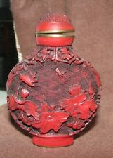 Antique 19C Chinese Qianlong Cinnabar Lacquer Carved Carving Snuff Bottle Flower