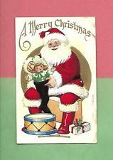 SANTA FILLS STOCKING, DOLL, TOY DRUM Colorful Vintage Unused CHRISTMAS Postcard