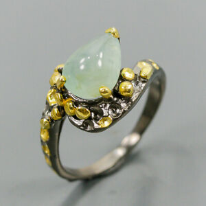 Handmade Jewelry ring Aquamarine Ring Silver 925 Sterling  Size 8 /R164189