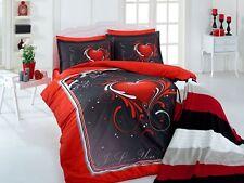 4 tlg Bettwäsche Bettgarnitur Bettbezug 100% Baumwolle Kissen 200x220 cm LOVE