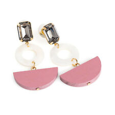 Black Diamond Colour and White Shell Effect Ladies Drop Earrings Pink