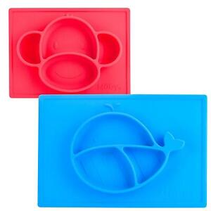 2 Pk - Toddler Suction Grip Silicone Food Section Plate Placemat Set (Choose)