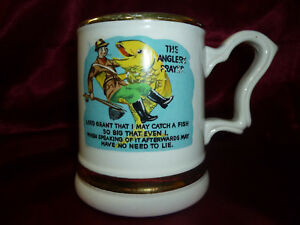 Vintage Prince William THE ANGLER'S PRAYER Tankard with 22 carat gold [Fishing]