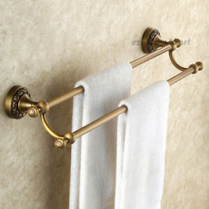 Antique Brass Bathroom Wall Mounted Towel Rack Double Rail Holder Clothes Hanger