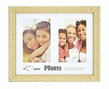 I Love Mom Frame, 8x10 Golden-Beige Ornate Finish for (2) 4x6 Photos with Mat