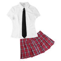 Women's Sexy School Girl Costume Secretary Uniform Cosplay Fancy Dress Roleplay