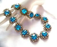 Glittering Vintage Style Aqua Color Crystal  Rhinestone & Glass Necklace