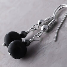 Silver Plated Dangle Fish Hook Earrings Black Onyx Hematite Ball