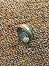 Custom Hand Made Damascus Steel Men's Ring Brass Embedded Stunning Gift!