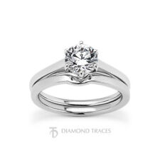 1/2ct H VS2 Round Cut Earth Mined Certified Diamond Plat Ring with Wedding Band