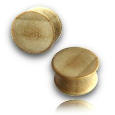 NEW PAIR 9/16 INCH (14mm) CONCAVE BLONDE CROCODILE WOOD PLUGS ORGANIC PLUG