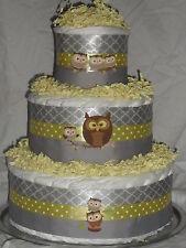 Yellow and Gray Owl Theme Diapercake