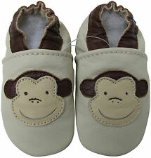 carozoo monkey cream 2-3y soft sole leather toddler shoes slippers