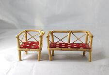 Vtg German Garden Mini Doll Furniture Patio Set Bench Chair Red White Polka Dots