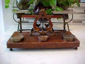 ANTIQUE WOOD BASE & BRASS BALANCE SCALE BY WILL M BROWN & CO LONDON w/ WEIGHTS