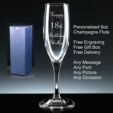 Personalised 6oz Champagne Flute, Birthday Gift 18th 21st 30th 40th 50th 60th