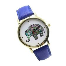 Adult / Teen - TRIBAL PATTERNED BABY ELEPHANT Quartz Watch with DARK BLUE Strap