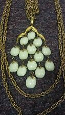Vintage CROWN TRIFARI White Lucite Bead Large Waterfall 3 Chain Pendant Necklace