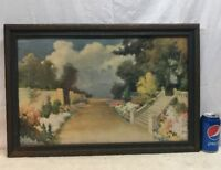 Vtg 1920's? Lithograph A. Atkinson Fox Colorful Garden Path Print Wood Framed