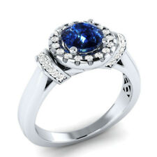 Elegant Women 925 Silver Wedding Ring Round Cut Blue Sapphire Ring Size 9