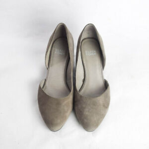 Eileen Fisher Womens 6 Lily Half Dorsay Wedge Pumps Gray Suede Shoes Cuban Heel