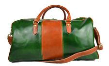 Borsone uomo donna borsa viaggio con manici e tracolla vera pelle verde miele