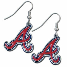 Atlanta Braves Dangle Earrings (Chrome) Licensed MLB Baseball Jewelry