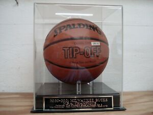 Basketball Display Case With A Milwaukee Bucks 2021 Champions Engraved Nameplate